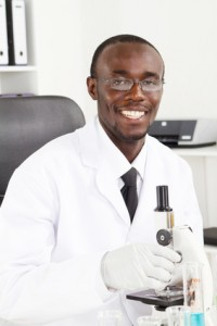african scientist in research lab