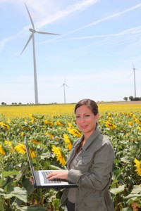 agronomist researching with windmills