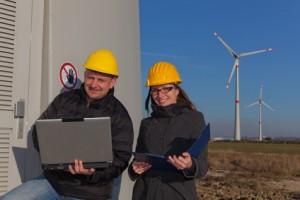 engineers wind turbine generation station